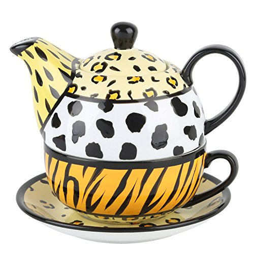 Artvigor Set 3 Pezzi Teiere Caffettiere Caraffe per tè e caffè con Tazzine da caffè e Piattini in Porcellana Ceramica Set da caffè tè per Una Persona Colori Misti Giallo e Nero