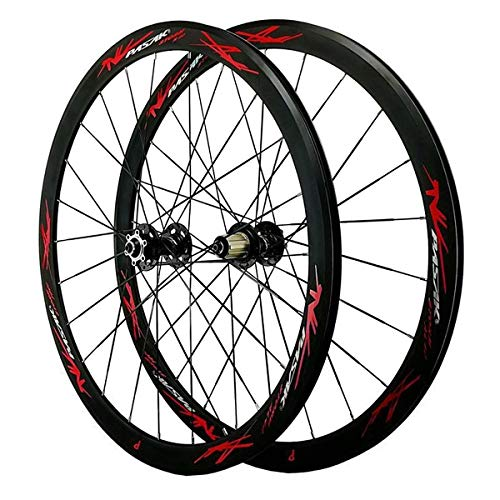 ZFF 700C Road Bike Wheelset Cyclocross Road Disc Brake Wheel 40MM V/C Brake Double Wall Quick Release 7 8 9 10 11 12 Speed (Color : Red)