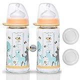 NIP Weithalsglasflasche Glas Flasche Lela Mint // 2er Set // Glas-Babyflasche // 240 ml // mit Weithalstrinksauger anatomisch, Silikon, Gr. 0+, Milch