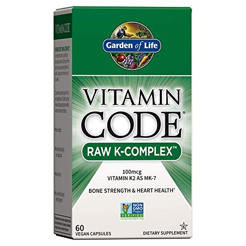 Garden of Life Vitamin K - Vitamin Code Raw K Complex Whole Food Vitamin Supplement, Vegan, 60 Capsules *Packaging May Vary*
