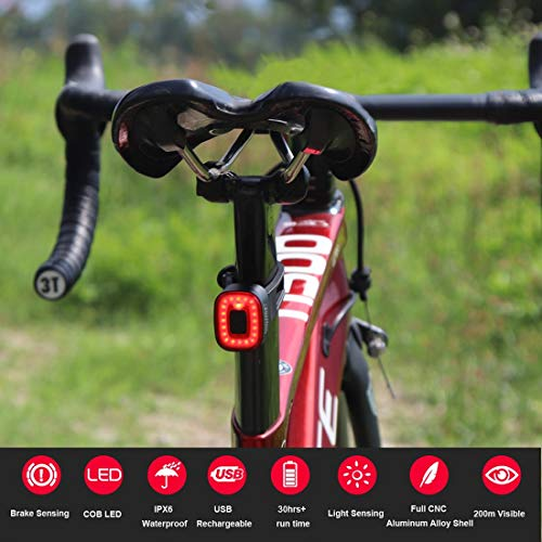 Xlite Smart Bike Brake Tail Light Ultra Bright, Bicycle Rear Lights Rechargeable Auto On/Off, IPX5 Waterproof LED, 30hrs+ Run Time (seatpost+Saddle)