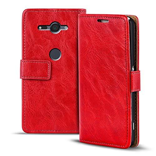 Verco Xperia XZ2 Compact Hülle, Premium Handy Schutzhülle für Sony Xperia XZ2 Compact Hülle PU Leder Wallet Tasche Retro Flipcase, Rot