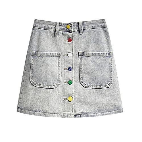 N\P Falda de mezclilla de mujer de cintura alta falda delgada botón tweed lana mini patchwork