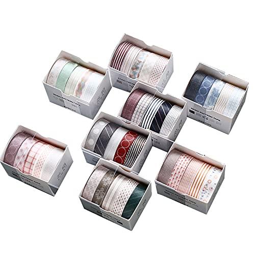 40 Rollos Cintas Adhesivas Washi Tape, Cinta Adhesiva Decorativa Diseño de estilo japonés para artes y manualidades, Embellecer revistas de balas, Planificadores, Scrapbooking