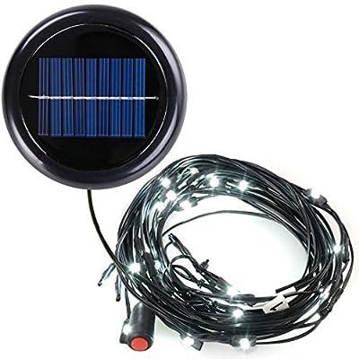 AMPERSAND 9-Ft. 8-Rib Offset Patio Umbrella Solar String Lights