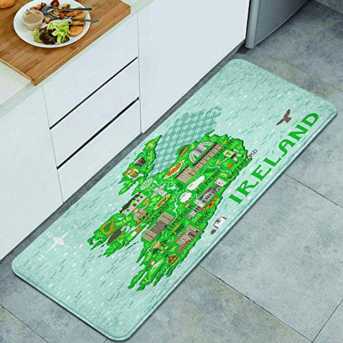 SDBUYW-ZQ Alfombra de Cocina,Mapa de Irlanda Viajes con Castillos irlandes, Alfombra Antideslizante con Respaldo para Alfombra de Cocina, tapete, tapete, 47.2 x 17.7 Pulgadas