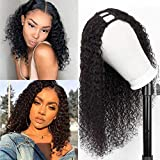 SINGLE BEST U Part Wig Human Hair Kinky Straight Wigs for Black Women, Non Lace Front Kinky Straight Human Hair Wig Half Wig 2x4 U Shape Clip in Wigs Remy Human Hair Extension (14inch, curly)