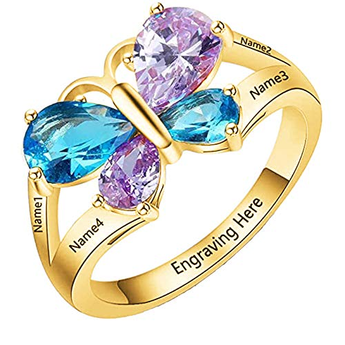 Personalized 4 Names Mothers Rings with 4 Simulated Birthstones Butterfly Promise Rings for Her Engraved Family Anniversary Rings for Mom(10)