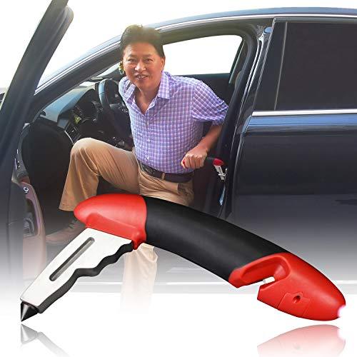 Car Handle Auto Cane,Mobilitätshilfe fürs Auto, Ein und Ausstiegshilfe für Autos,Notfallhammer,Sicherheitshammer+Gurtschneider+LED-Taschenlampe,Auto Assist Grab Bar & Aufstehhilfe