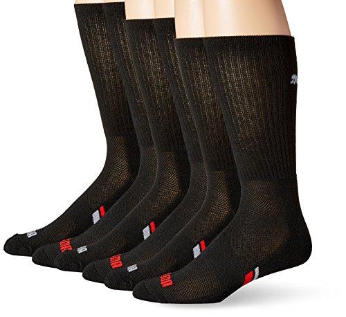 PUMA Socks Men's Crew Socks, Black/Red, Sock Size:10-13/Shoe Size: 6-12 (Pack of 6)