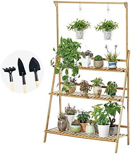 Bamboo 3-Tier Hanging Plant Stand 訳あり商品 with Pot Display 本日限定 Shelf R