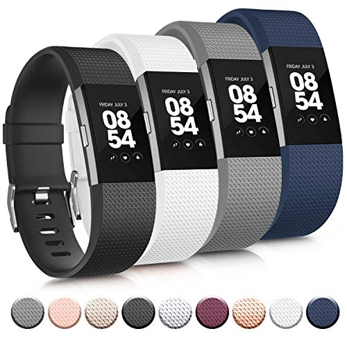 Tobfit 4 Pack Sport Bands Compatible with Fitbit Charge 2 Bands, Replacement Wristbands for Women Men Small/Large (Black/Blue/Grey/White, Large)