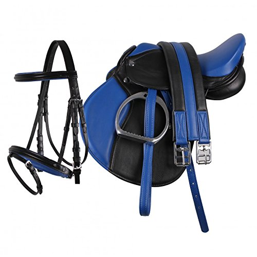 Equipride Pony Power Sattel 33 cm Kunstleder Komplettset in Blau (blau, 33 cm)