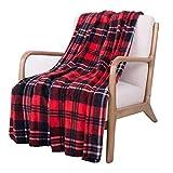 SOCHOW Flannel Fleece Blanket 50 × 60 Inches, All Season Plaid Red/Grey...