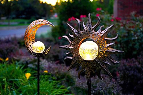 2 Pack-Upgraded 2020 Solar Lights Sun & Moon Decor-Waterproof, Iron, Decorative Stake Beautiful Crackle Globe for Front Yard, Backyard, Garden, Patio or Pool Deck Lighting