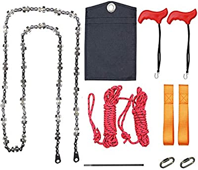 53 Inch 68 Teeth High Reach Tree Limb Hand Rope Chain Saw Outdoor Pocket Gardening Chainsaw for Camping, Hunting, Tree Cutting, Hiking, Backpacking (53 inch 68 teeth)