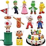 Super Mario Figures, 12 pcs/Set Super Mario Tarta Decoración, Super Mario Figuras Decoración, Super Mario Juguete, Dibujos Cumpleaños Decoración Pastel, Colecciones de Modelos de PVC