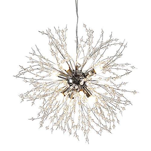 Qamra Modern Crystal Kronleuchter, Chrom 9-Lichter Feuerwerk Löwenzahn