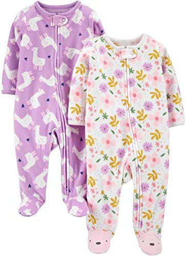 Simple Joys by Carter s Girls 2 Pack Fleece Footed Sleep and Play Purple Llamas Floral 6 9 Months product image