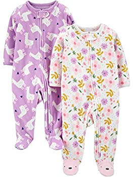 Simple Joys by Carter s Girls  2-Pack Fleece Footed Sleep and Play Purple Llamas/Floral 6-9 Months