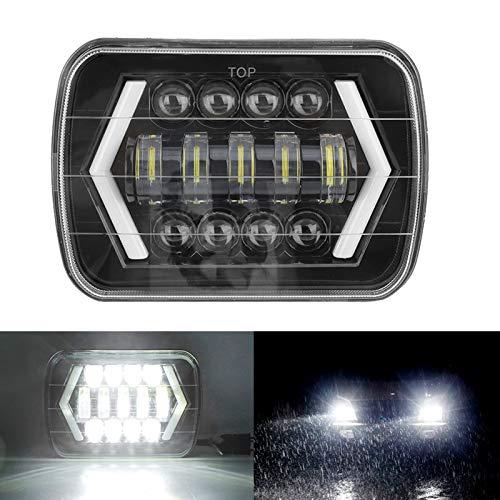LED Fari Anteriori 7 Pollici 300W Faro Anteriore per Auto, Hi / Lo Fascio Beam, LED Quadrato Lampada Halo per J-eep Wrangler Cherokee XJ (Luce singola)