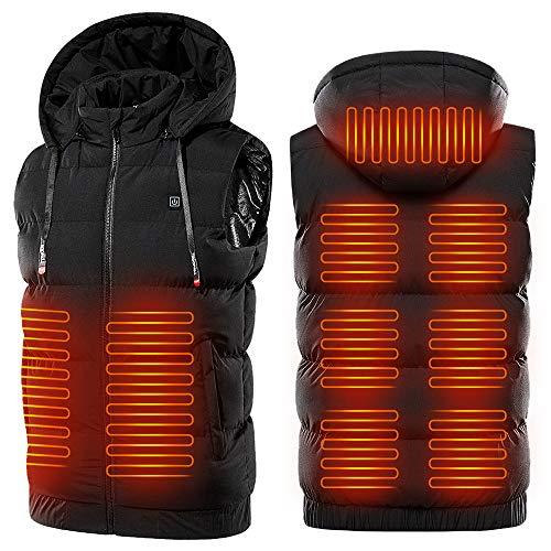 Roeam Chaleco con calefacción USB, Chaleco cálido con calefacción portátil, Chaleco cálido eléctrico, Chaleco cálido con Capucha Resistente al Agua para Hombres y Mujeres