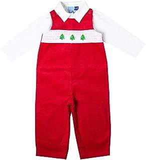 Good Lad Newborn/Infant Boys Red Corduroy Overall Set with Christmas Tree Smocking Motif