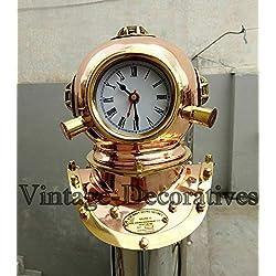 vintage-decoratives Copper & Brass Clock Handmade Nautical Marine Divers Helmet Clock Maritime Reproduction Home Decor Figurines