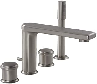 Hudson Reed Eclipse Roman Tub Faucet With Handshower In Brushed Nickel Finish