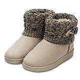 Botas de Nieve para Mujer Zapatillas de Punto Beige 36 EU (Talla de Suela es Asiática 37)