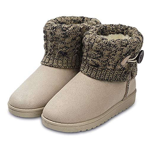 Botas de Nieve para Mujer Zapatillas de Punto Beige 38 EU (Talla de Suela es Asiática 39)
