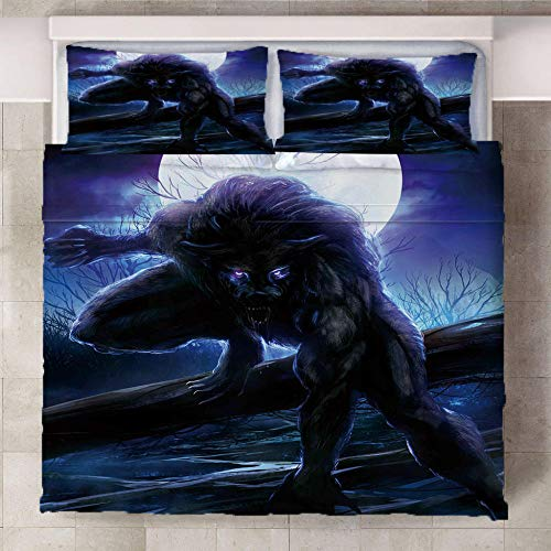 GEGEMEI 3D Printed Bedding Set For Children Werewolf Motif Duvet Quilt Cover Pillowcase Bedding Set Zipper Closure Easy Care 200X200Cm