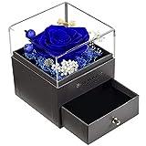 Guijiyi Rosa Eterna,Real Flor Rosa Eterna Preservada,Hecha a Mano,Joyero Rosa Eterna Caja de Regalos Originales para Mujer,el Día de San Valentín,Día de la Madre,Aniversario,Boda (Azul)