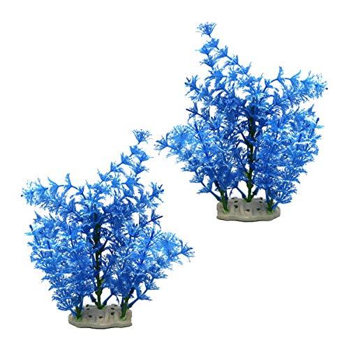 2 Pcs Artificial Coral Plastic Coral Tree Fish Tank Plants Fish Tank Ornament for Fish Tank Aquarium Decoration (Blue)