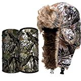 S A Frost Pack - 1 SA Co Snow Camo Trapper Hat, 1 White Forest Camo Thermal Fleece Face Shield, 1 Dregs Forest Camo UV Face Shield (Snow Camo Frost)