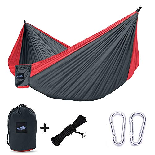 Nordmiex Double Portable Camping Hammock - Upgraded Carabiners Portable Hammock with Tree Straps Indoor & Backyard Hammock -Easy Setup Hammock - Holds 600 lbs!