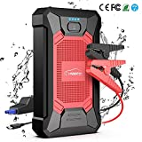 YABER Booster Batterie, 800A 12000mAh IP66 Étanche Booster de Batterie Voiture Moto (Jusqu'à 5,0L de Essence 4,0L Diesel) Robuste Jump Starter avec USB et Lamp LED, Kit Pinces Crocodiles, UL Certifié