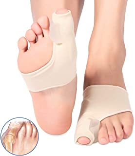 Haofy Bunion Sleeves, Bunion Corrector Toe Straightener with Bulit in Gel Pads, 2-