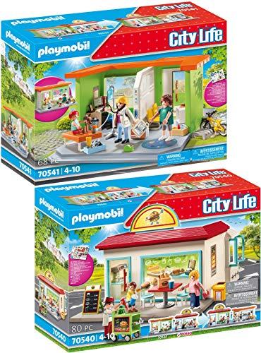 PLAYMOBIL City Life 70540 70541 - Juego de 2 hamburguesas y pediatría