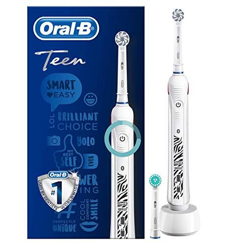 Oral-B Teen Elektrische Zahnbürste, für Teenager ab 12 Jahren, mit visueller Andruckkontrolle, weiß
