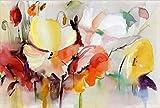 SHBKGYDL Bilder Auf Leinwand Bild Druck Auf Leinwand Moderne Aquarell Blumen Wandbild Handbemalt Mohn Blumen Druck Auf Leinwand Wand Bild Für Wohnzimmer Home Decor Geschenk, 70 X 100 cm Ohne Rahmen