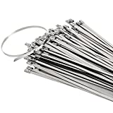 HYCC 100pcs 11.8 Inches 304 Stainless Steel Cable Zip Ties Exhaust Wrap Coated Locking