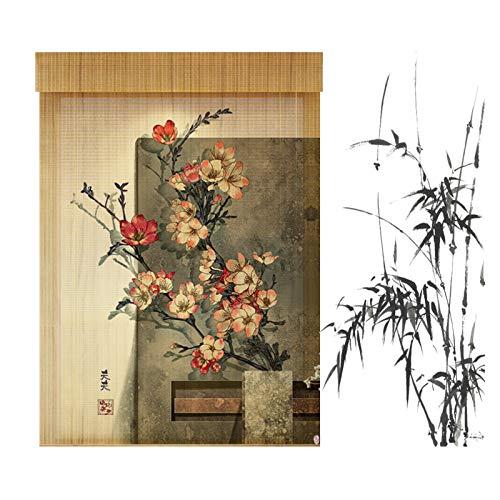 Persiana Bambú, Cortinas Decorativas Retro Impresas Cortinas Paño Privacidad, Filtrado Luz Protección UV Fácil Usar, Personalizable PENGFEI (Color : B, Size : 110cmX160cm)
