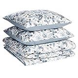 Amazon Basics - Juego de fundas de edredón y almohada de microfibra premium (240 x 220 cm / 80 x 80 cm), azul niebla acuarela