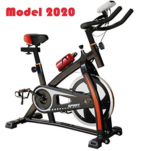 2020 - Bicicleta estática de spinning deportiva para estudio, entrenamiento en interiores, fitness, cardiovascular, ciclismo, hogar, gimnasio, monitor LED (botella de agua incluida)