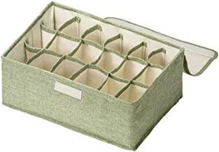 Drawer Organizers 18 Cell Foldable Storage Box with Protected Lid Closet Underwear Organizer for Towels Ties Socks