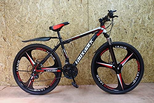 JK3 - Bicicleta de montaña (26 pulgadas, 21 velocidades), color negro y rojo