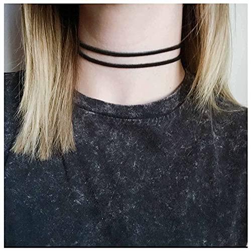 Yheakne Boho - Collar de piel de varias capas de ante negro - Collar corto de terciopelo para mujeres y niñas - Color negro