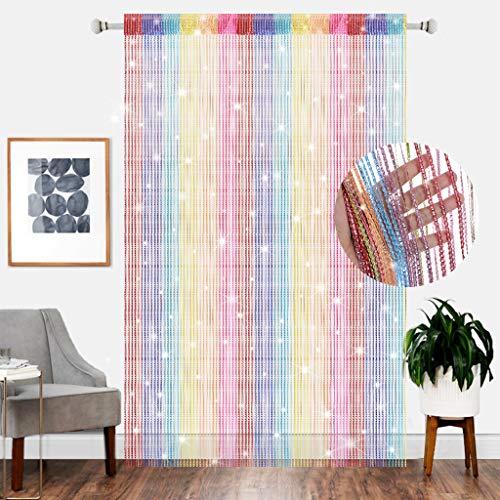 AIZESI String Door Curtain Crystal Beaded Curtain Screen String for Doorways Divider or Window (rainbow90x200cm)