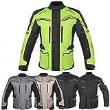 RA-MOTO Motorcycle Motorbike Textile Touring Adventure Enduro Armoured Jacket For Men (Neon Yellow/Black, 4XL)